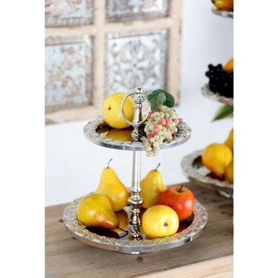 Polished Silver Decorative 2-Tier Tray Stand with Flourished Rims