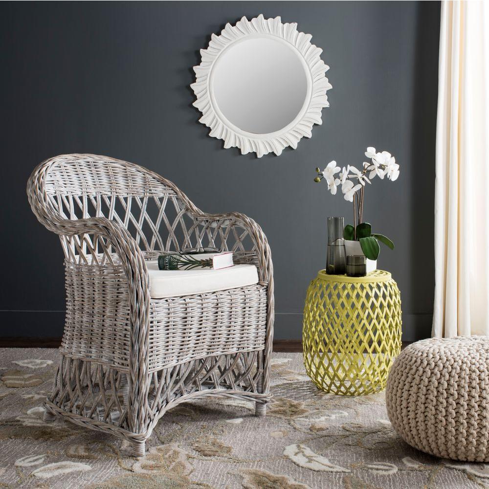 Inez White Wash Rattan Arm Chair