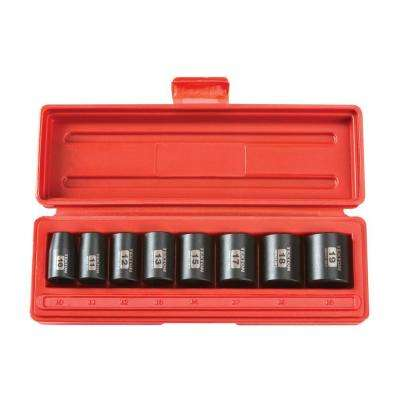 3/8 in. Drive 10-19 mm 6-Point Shallow Impact Socket Set