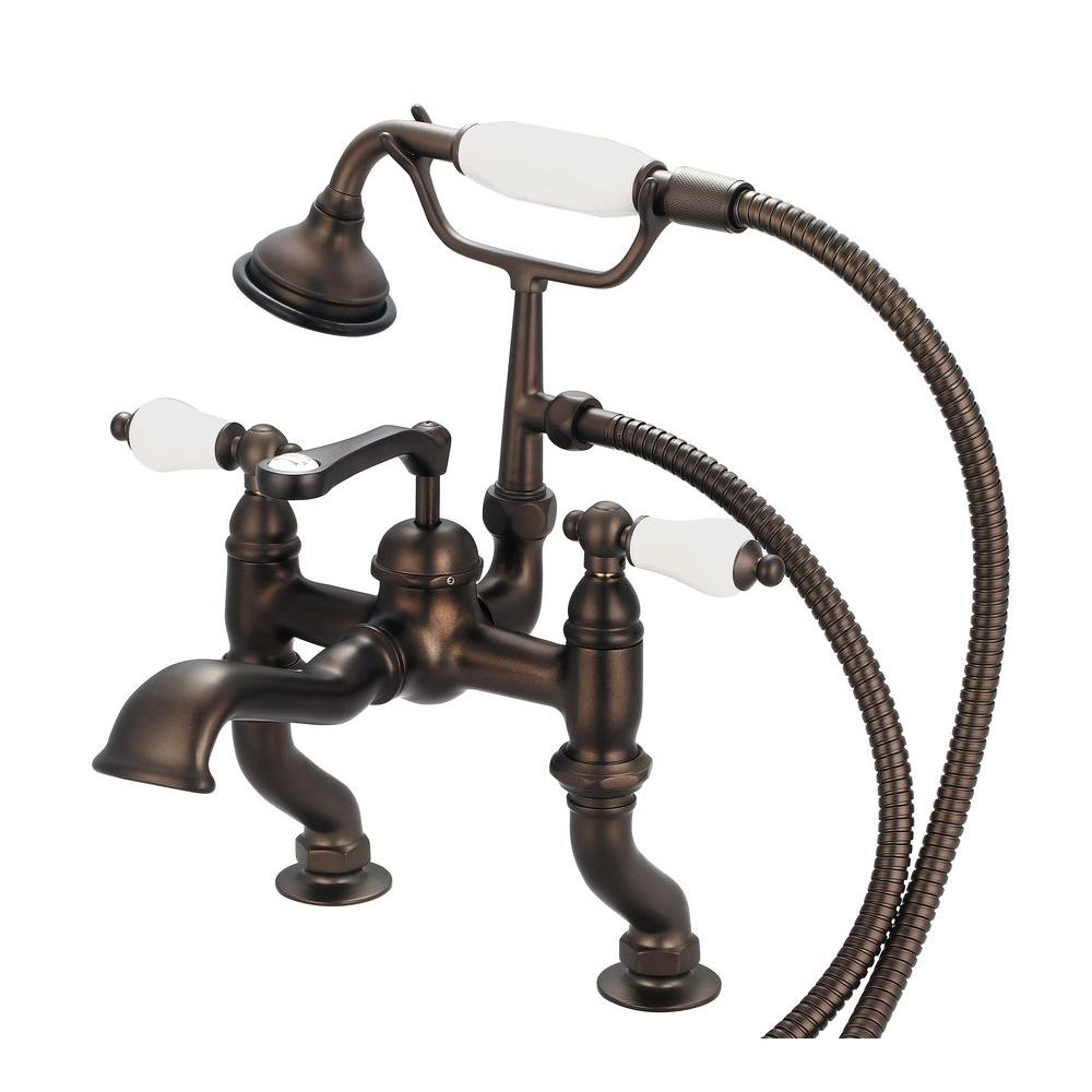 Water Creation 3-Handle Vintage Claw Foot Tub Faucet with Hand Shower and Porcelain Lever Handles in Oil Rubbed Bronze