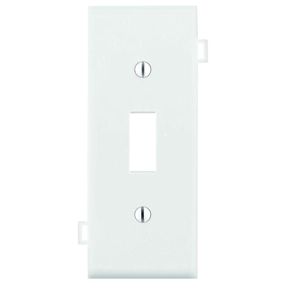 White Nylon Toggle Wall Plate Center 1 Gang Section