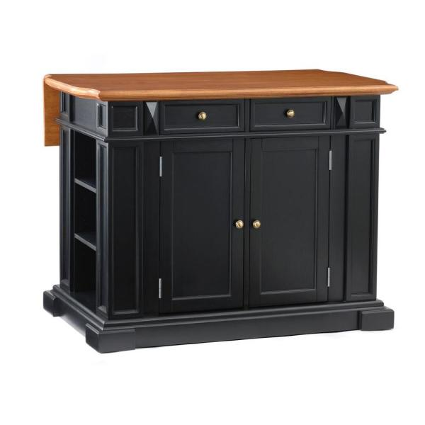 Americana Black Kitchen Island With Drop Leaf