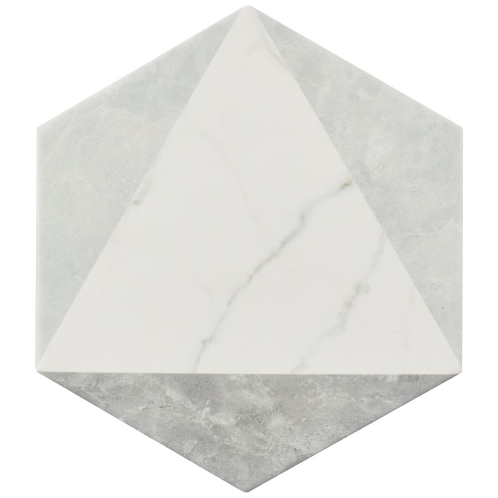 Classico Carrara Hexagon Peak 7 in. x 8 in. Porcelain Floor