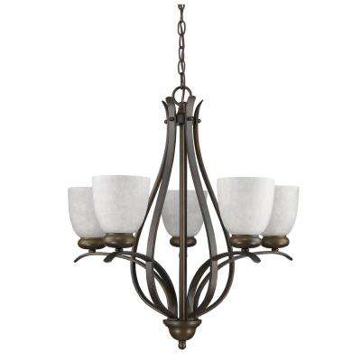 Alana Indoor 5-Light Oil Rubbed Bronze Chandelier with Glass Shades