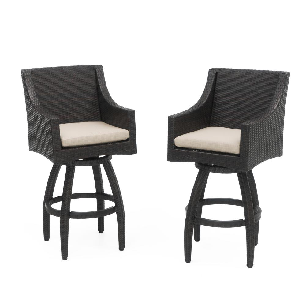 RST Brands Deco All Weather Wicker Motion Patio Bar Stool With Slate Grey  Cushions (