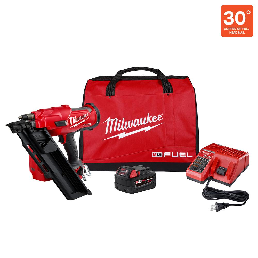 Milwaukee M18 FUEL 3-1/2 in. 18-Volt 30-Degree Lithium-Ion Brushless Cordless Framing Nailer Kit with 5.0 Ah Battery Charger, Bag