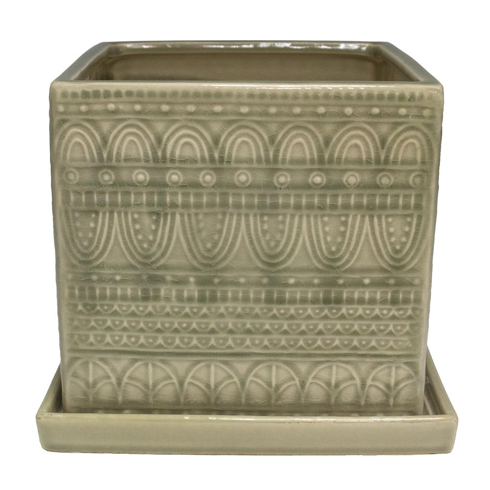 Trendspot 8 in. Greige Seven Seas Ceramic Square Planter
