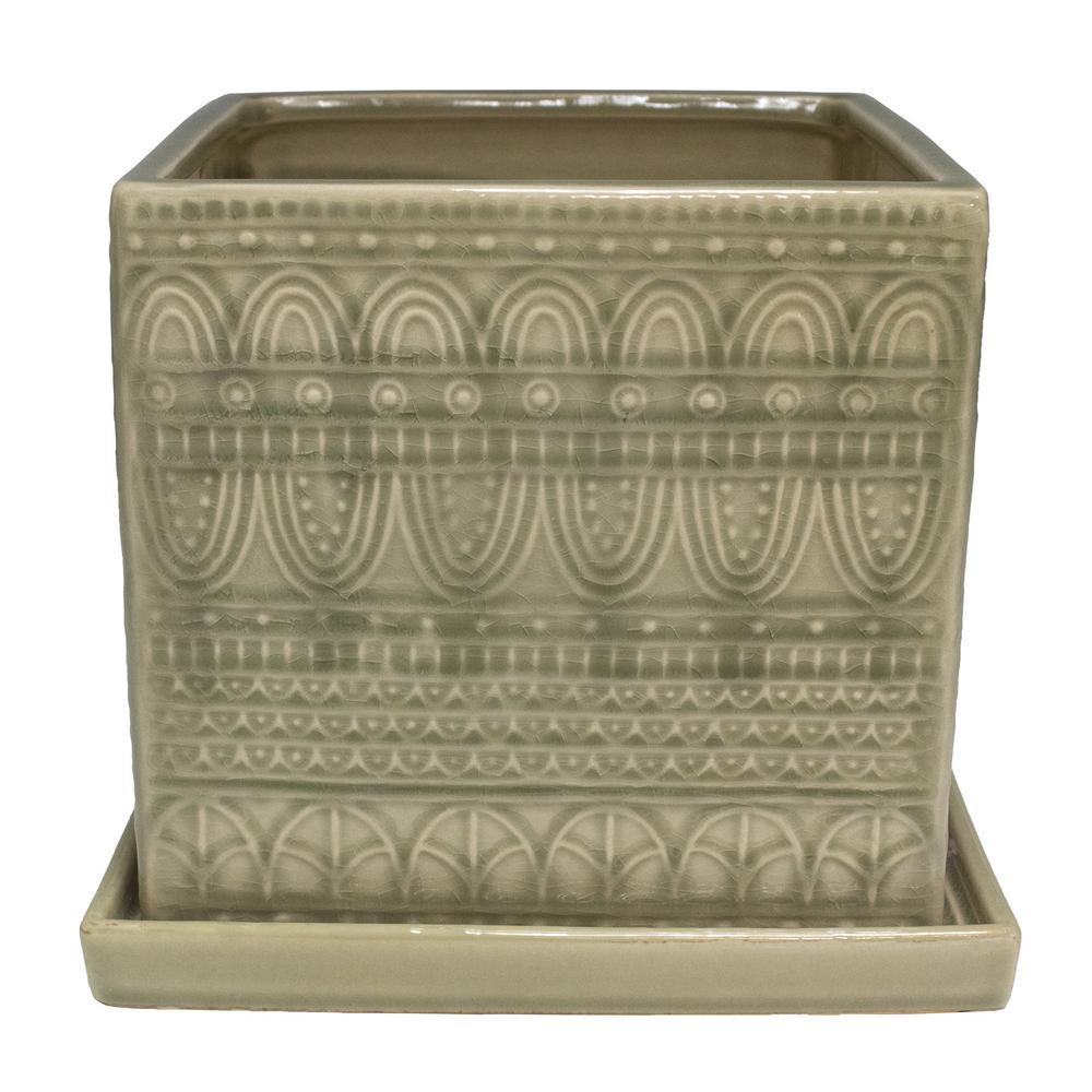 8 in. Greige Seven Seas Ceramic Square Planter