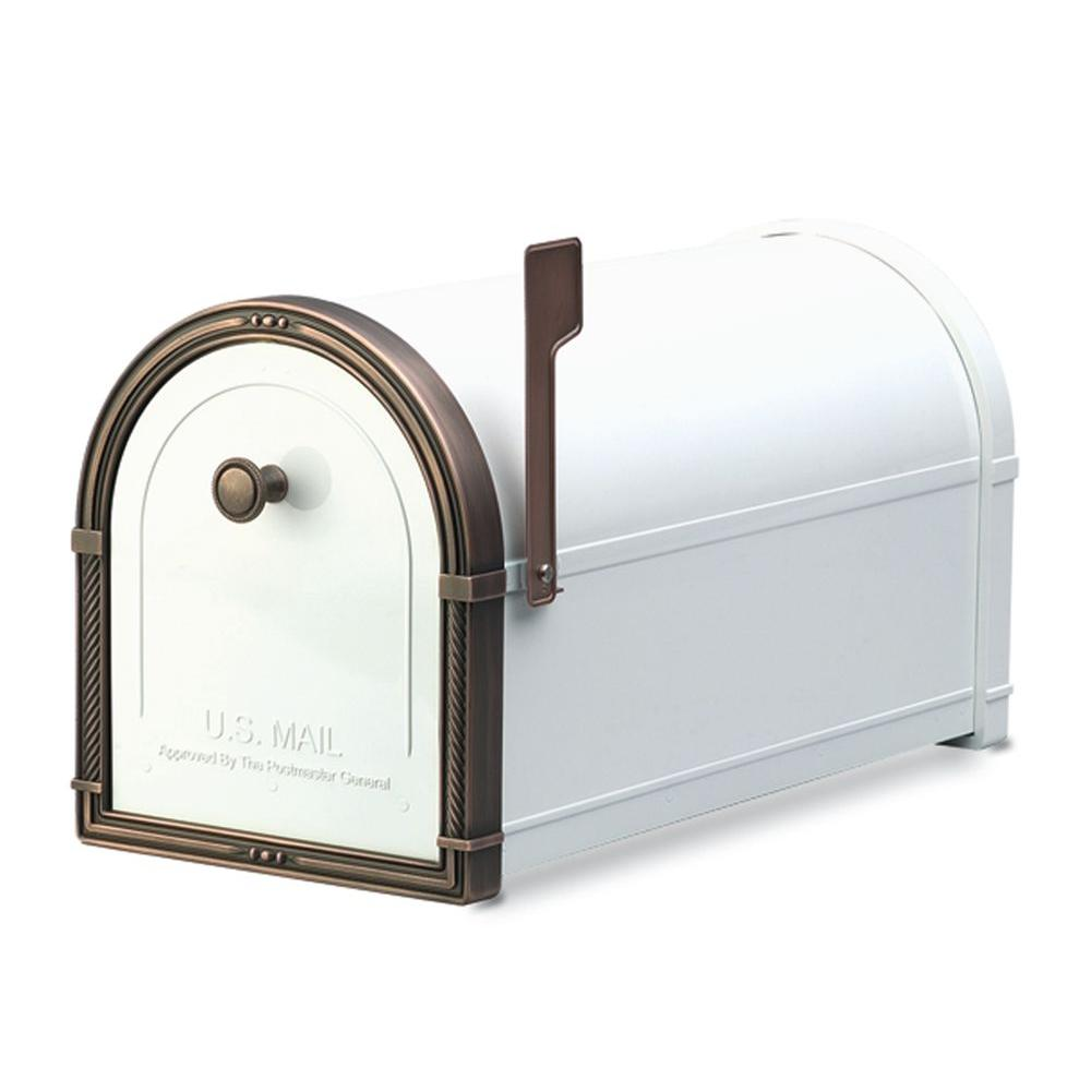 Architectural Mailboxes Coronado White with Antique Copper Accents Post-Mount Mailbox