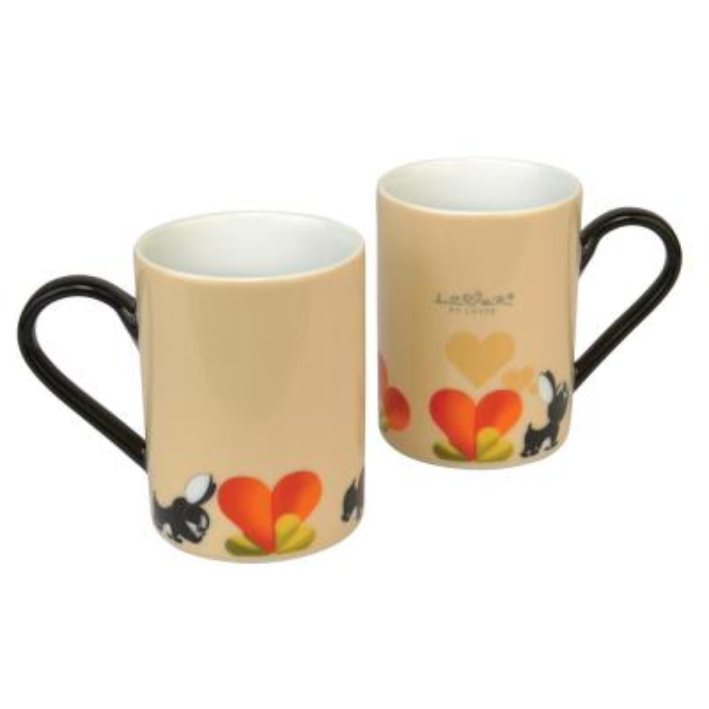 Lover by Lover 9.5 oz. Beige Porcelain Coffee Mug (Set of 2)
