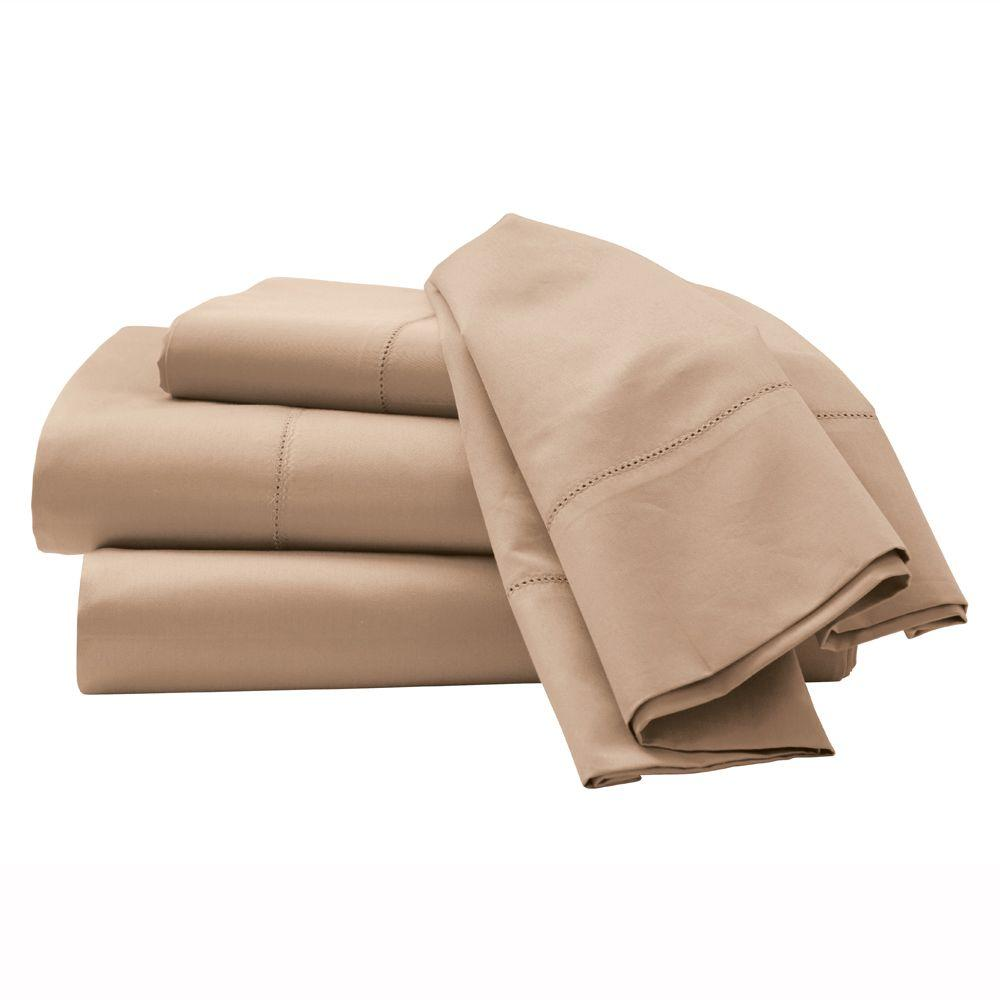 Home Decorators Collection Hemstitched Craft Brown Queen Sheet Set