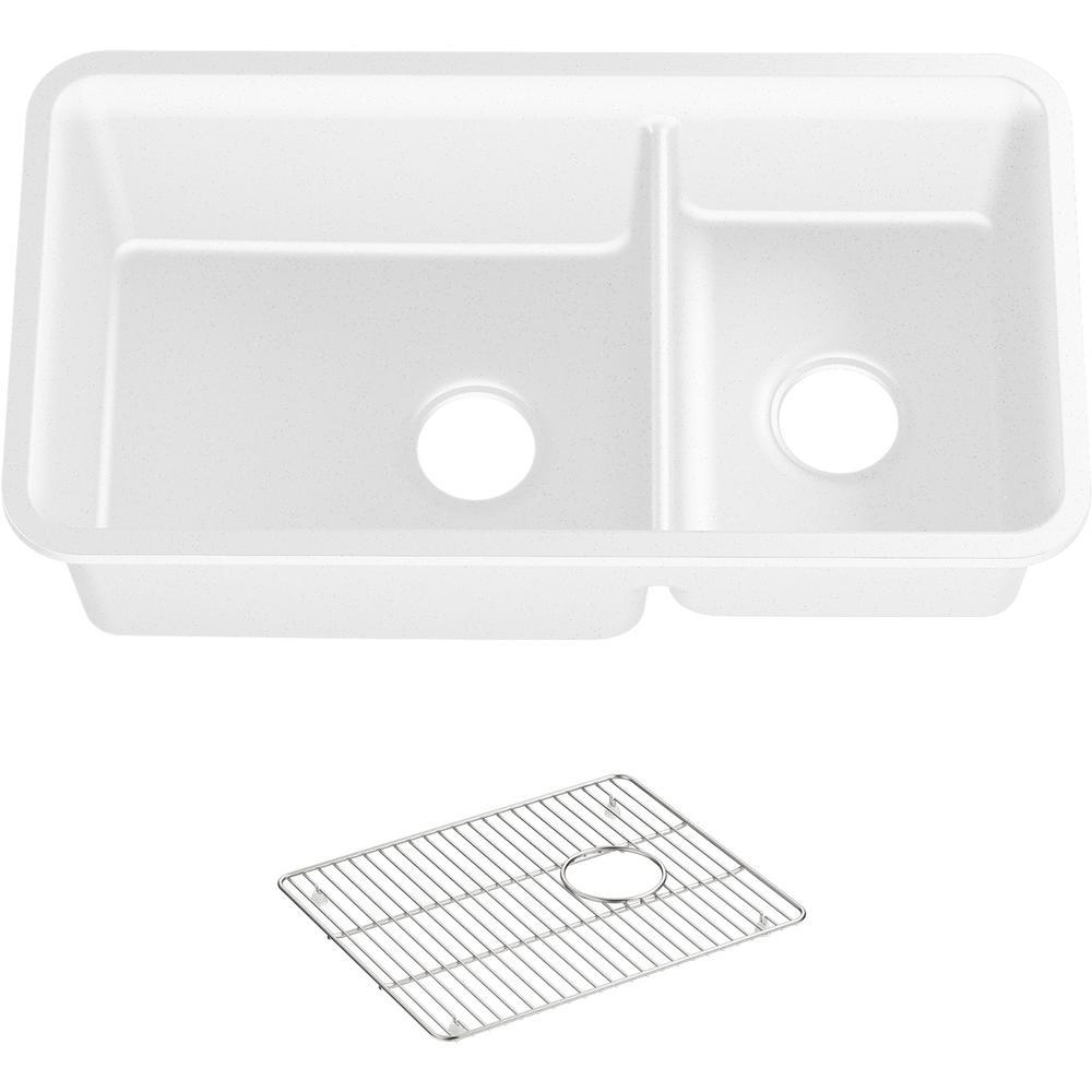 Cairn Undermount Neoroc Granite Composite 33.5 in. Double Bowl Kitchen Sink Kit in Matte White