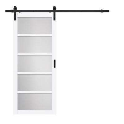 36 in. x 84 in. Bright White MDF Frosted Glass 5-Lite Rustic Barn Door with Sliding Door Hardware Kit