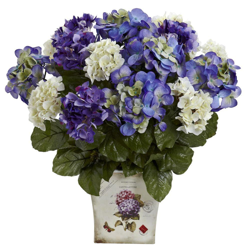 Nearly Natural Mixed Hydrangea With Floral Planter 1378 Bp