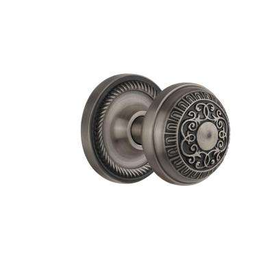 Rope Rosette 2-3/8 in. Backset Antique Pewter Privacy Bed/Bath Egg & Dart Door Knob