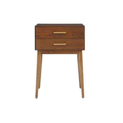 Drakeford 2 Drawer Walnut Finish Stain Nightstand (18.11 in W. X 25.98 in H.)