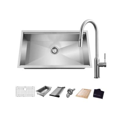 All-in-One Undermount Stainless Steel 27 in. Single Bowl Kitchen Workstation Sink with Faucet and Accessories Kit