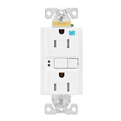 GFCI Self-Test 15A -125V Tamper and Weather Resistant Duplex Receptacle with Standard Size Wallplate, White