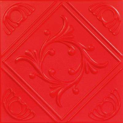 Diamond Wreath 1.6 ft. x 1.6 ft. Foam Glue-up Ceiling Tile in Red
