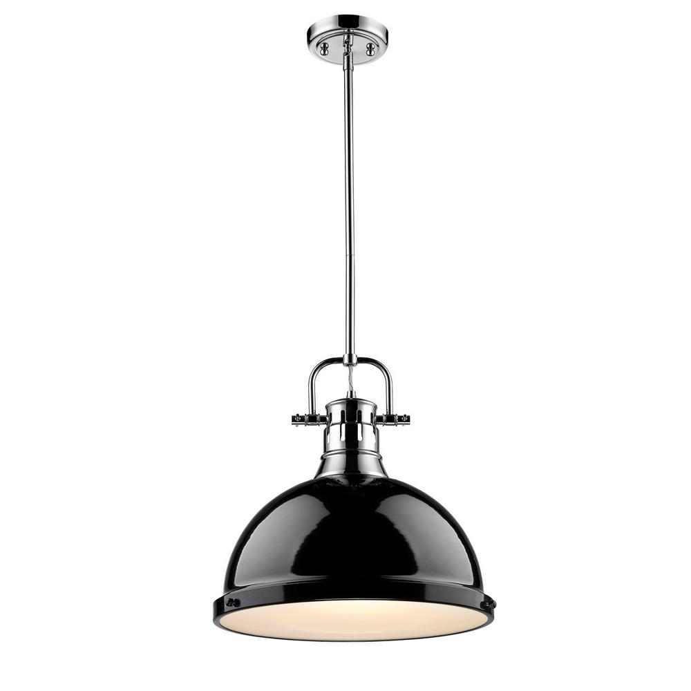 Duncan 1-Light Chrome Pendant with Rod with Black Shade