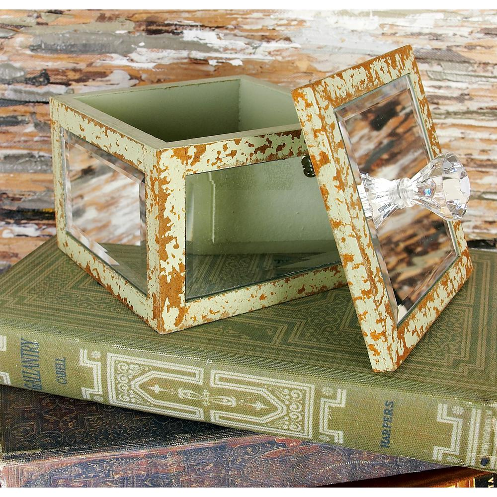 Shabby Chic Square Wooden Mirrored Jewelry Boxes (Set of 4)