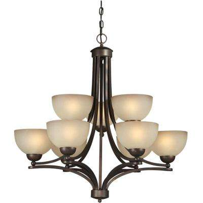 9-Light Antique Bronze Chandelier with Shaded Umber Glass