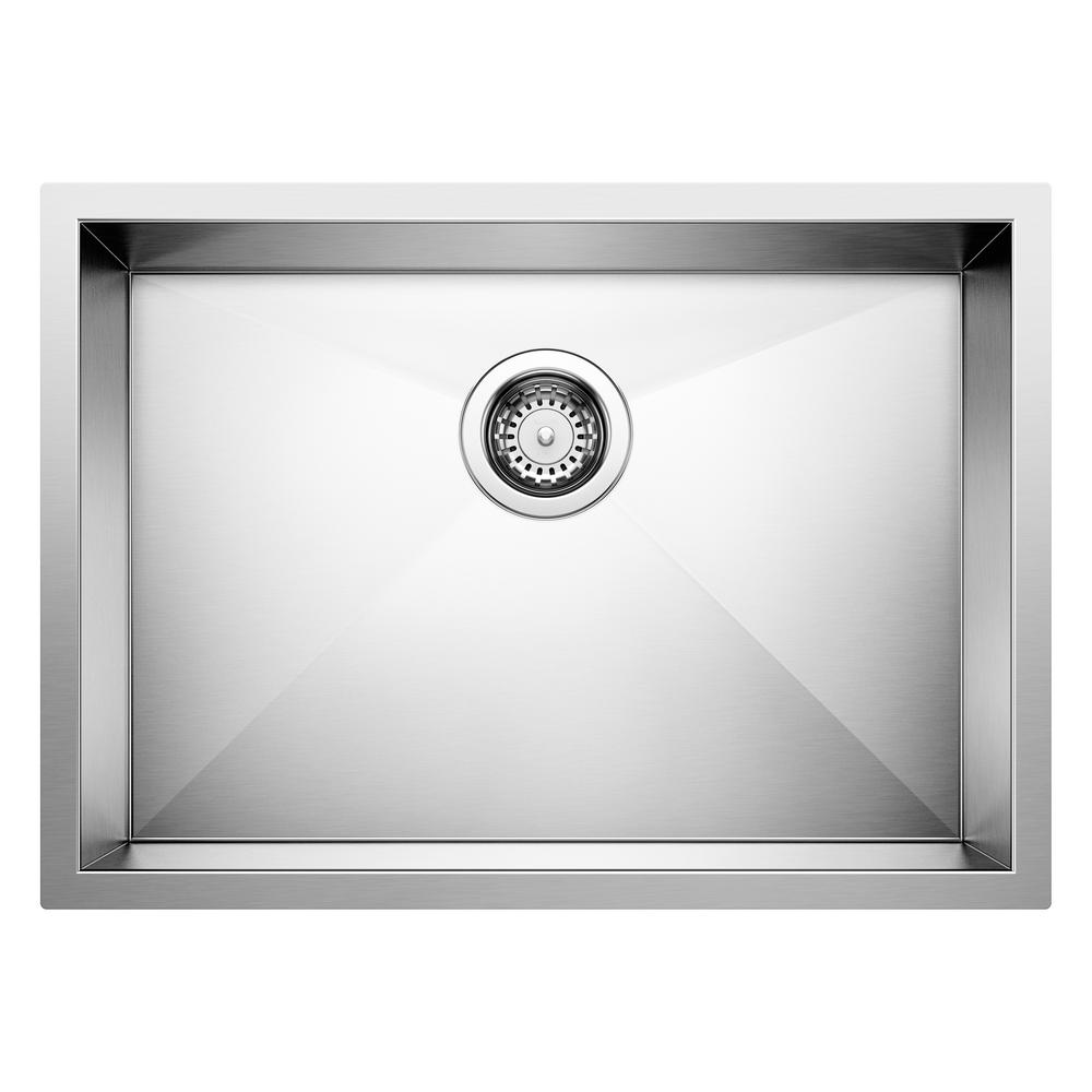 Blanco QUATRUS R0 Undermount Stainless Steel 25 in. Single Bowl ADA  Compliant Kitchen Sink