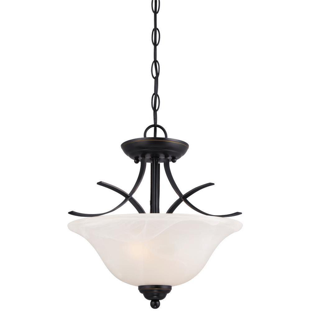Pacific Falls 2-Light Amber Bronze Convertible Pendant/Semi Flush Mount
