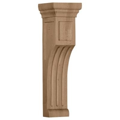 4 in. x 4 in. x 14 in. Unfinished Wood Rubberwood Recessed Groove Corbel