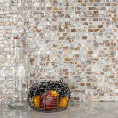 Conchella Subway Natural 12-1/4 in. x 12-1/2 in. x 2 mm Natural Seashell Mosaic Tile