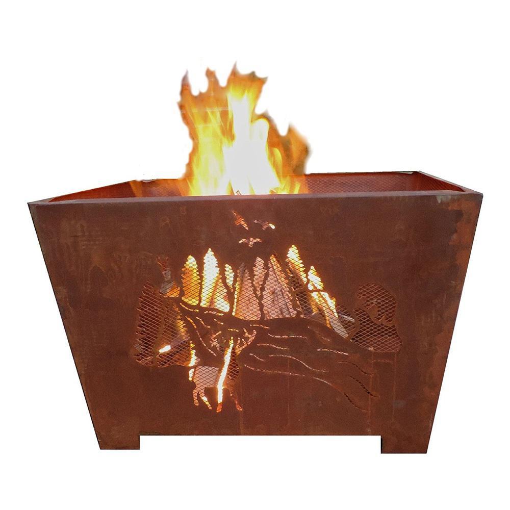 Esschert Design Nature 24 in. x 16 in. Square Steel Wood Burning Fire Pit in Rust