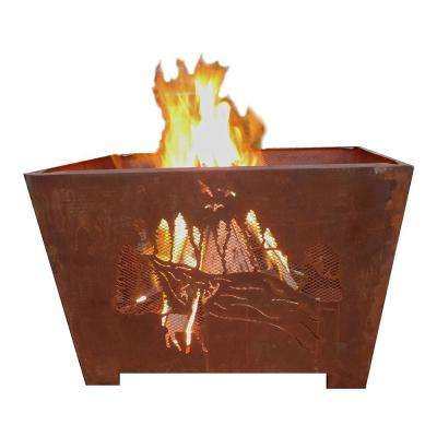 Nature 24 in. x 16 in. Square Steel Wood Burning Fire Pit in Rust