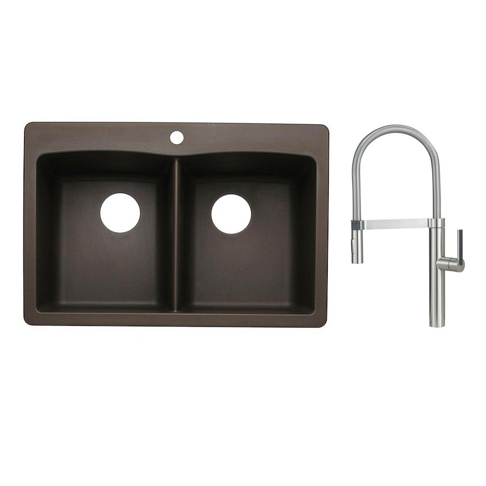 Diamond Dual-Mount Granite Composite 33 in. 1-Hole 50/50 Double Bowl Kitchen