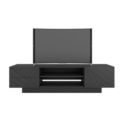 Galleri 72 in. Charcoal Gray Engineered Wood TV Stand Fits TVs Up to 80 in. with Storage Doors