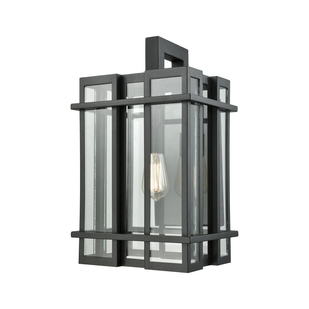 Titan Lighting Glass Tower Large 1-Light Matte Black With