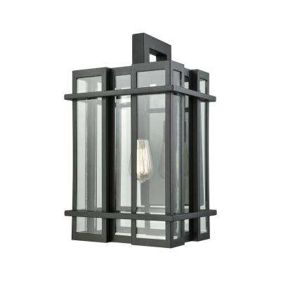 Glass Tower Large 1-Light Matte Black with Clear Glass Outdoor Wall Mount Sconce