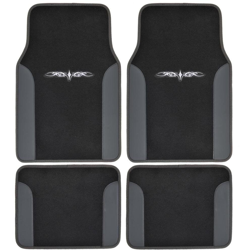 Tattoo Design MT-201 Black Carpet With PU Leather 4-Piece Car Floor