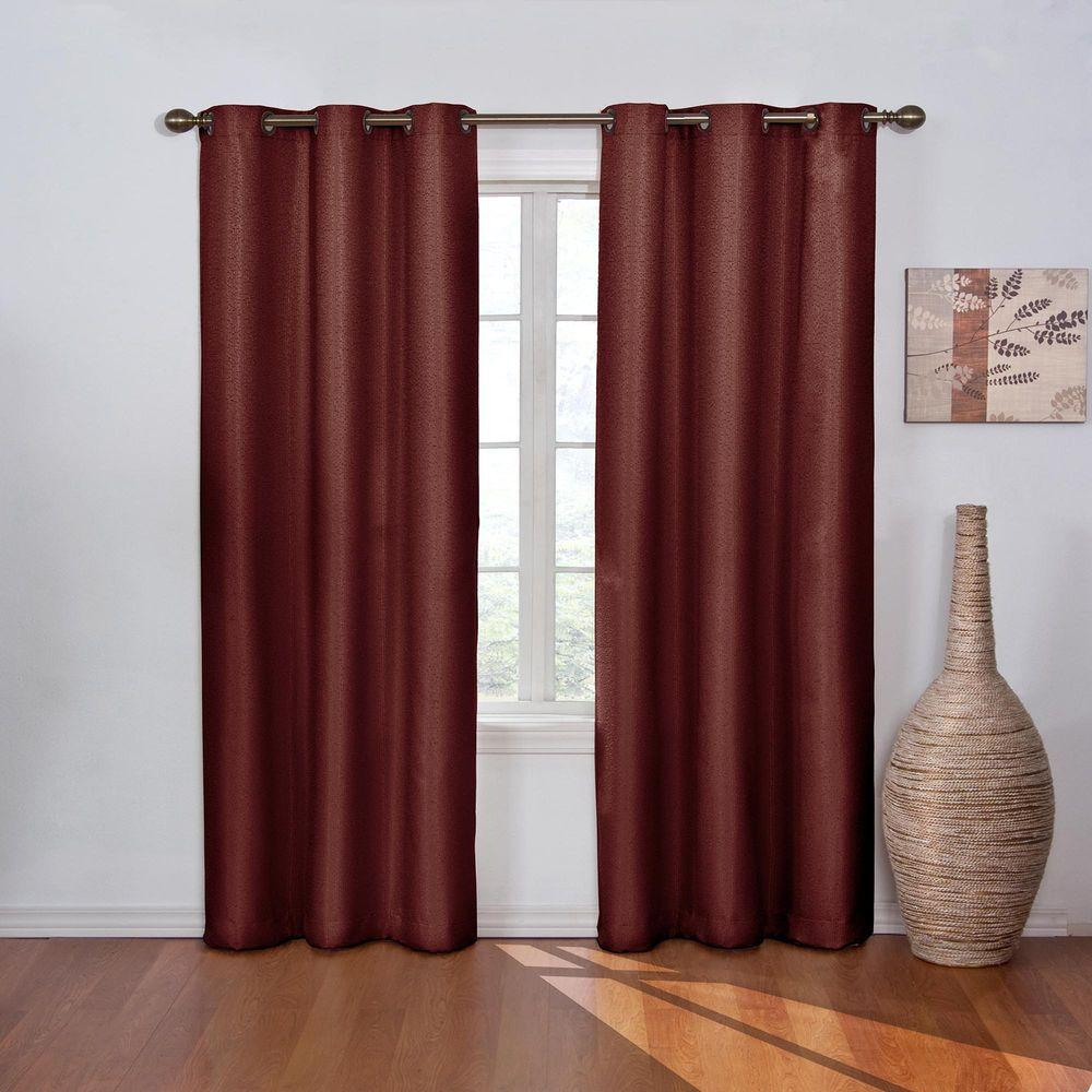 Blackout Madison Merlot Polyester Grommet Blackout Curtain - 42 in. W