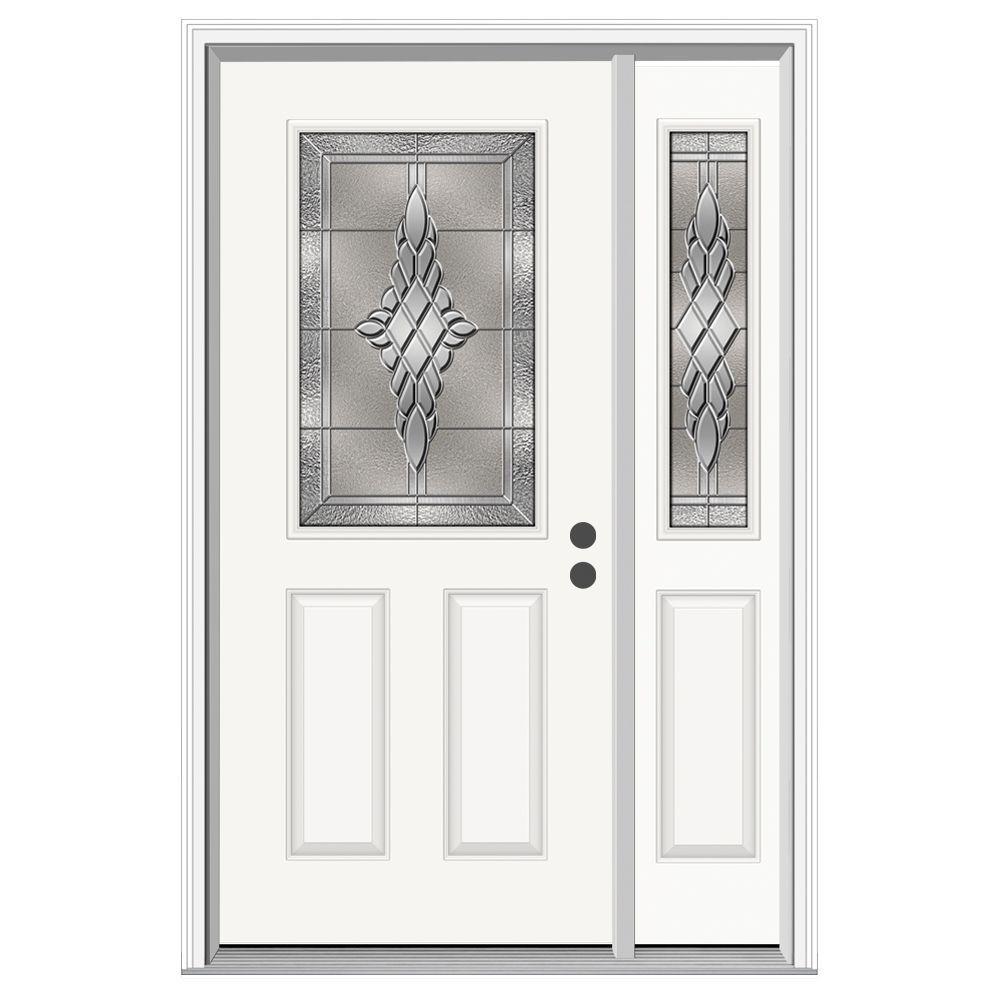 50 in. x 80 in. 1/2 Lite Hadley Primed Steel Prehung Left-Hand Inswing Front Door with Right-Hand Sidelite