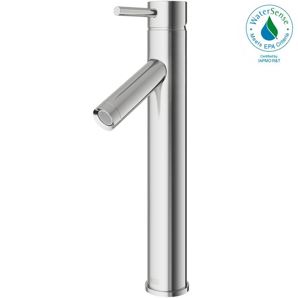 Dior Single Hole Single-Handle Vessel Bathroom Faucet in Brushed Nickel