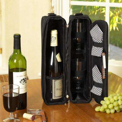 Sunset Black Wine Tote for 2 with Glasses