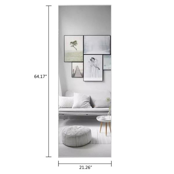 Bedroom-Black TinyTimes 24/×36 Large Wall Mirror Brushed Silver Al-Alloy Thin Frame Rectangular Metal Framed Mirror Home Decor for Vanity Hangs Horizontal or Vertical Bathroom Entryways