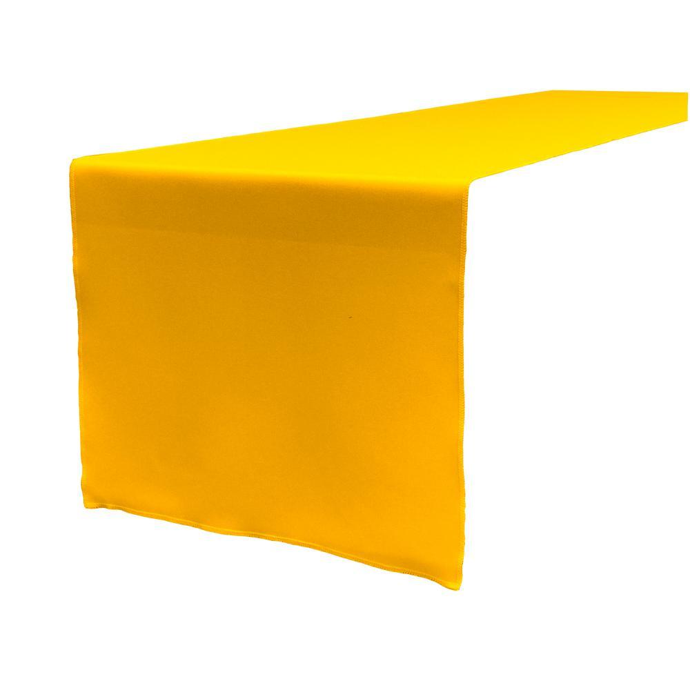 14 in. x 108 in. Dark Yellow Polyester Poplin Table Runner