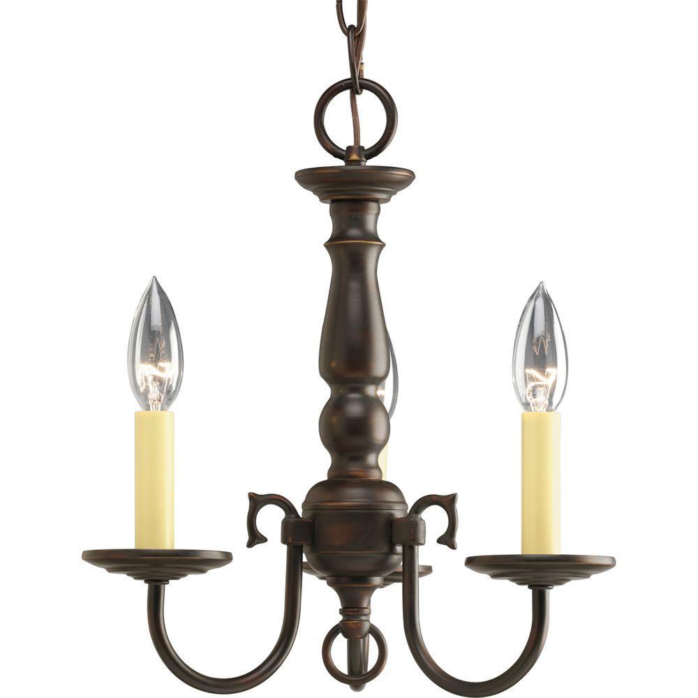 Americana Collection 3-Light Antique Bronze Chandelier