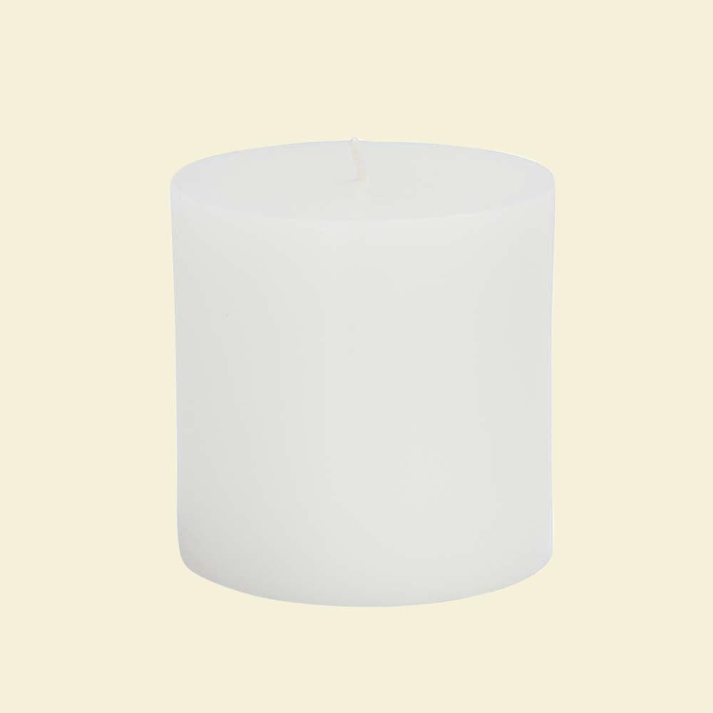 Zest Candle Zest Candle 3 in. x 3 in. White Pillar Candles Bulk (12-Case)