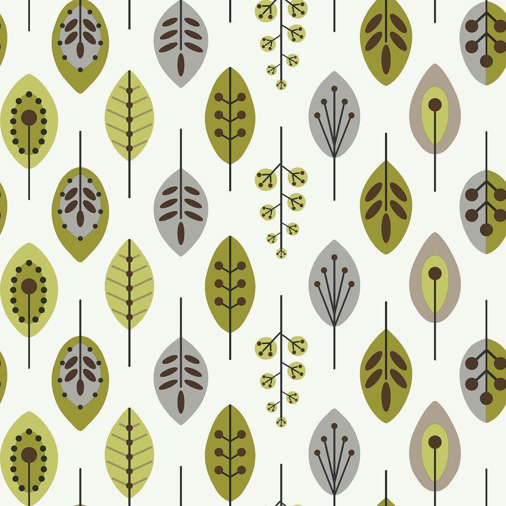 York Wallcoverings Retro Leaves Wallpaper Kb8525 The