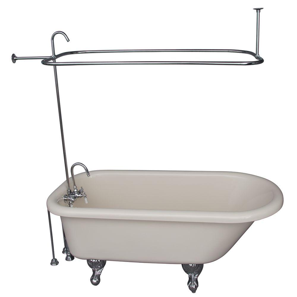 5 ft. Acrylic Ball and Claw Feet Roll Top Tub in