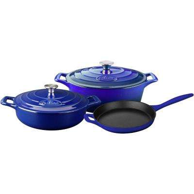 PRO 5-Piece Enameled Cast Iron Cookware Set with Saute, Skillet and Oval Casserole in High Gloss Sapphire