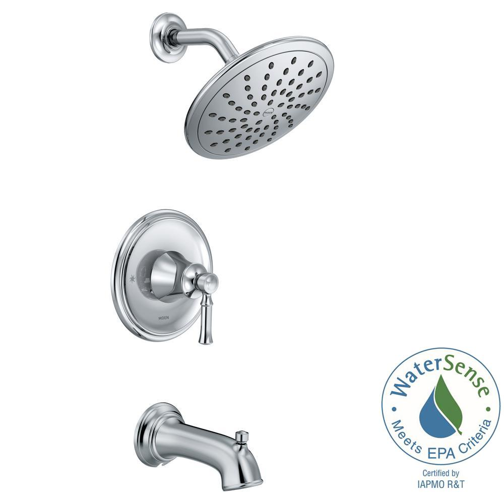 MOEN Dartmoor Posi Temp Rain Shower 1 Handle Tub And Shower Faucet Trim Kit