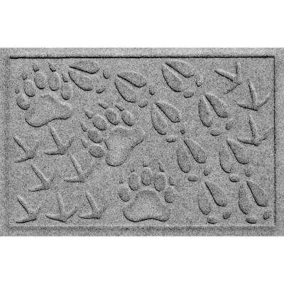 Aqua Shield Animal Tracks Medium Grey 17.5 in. x 26.5 in. Pet Mat